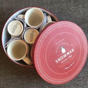 WILLIAM SONOMA Set of 6 Snowman Decorative Mugs